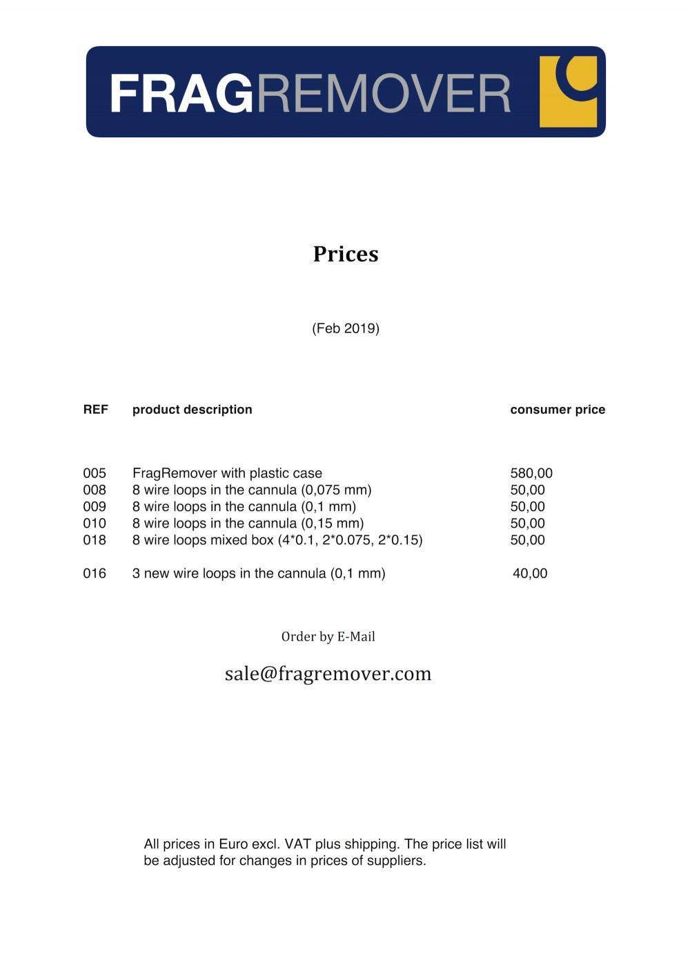 Preisliste für Endverbraucher Englisch